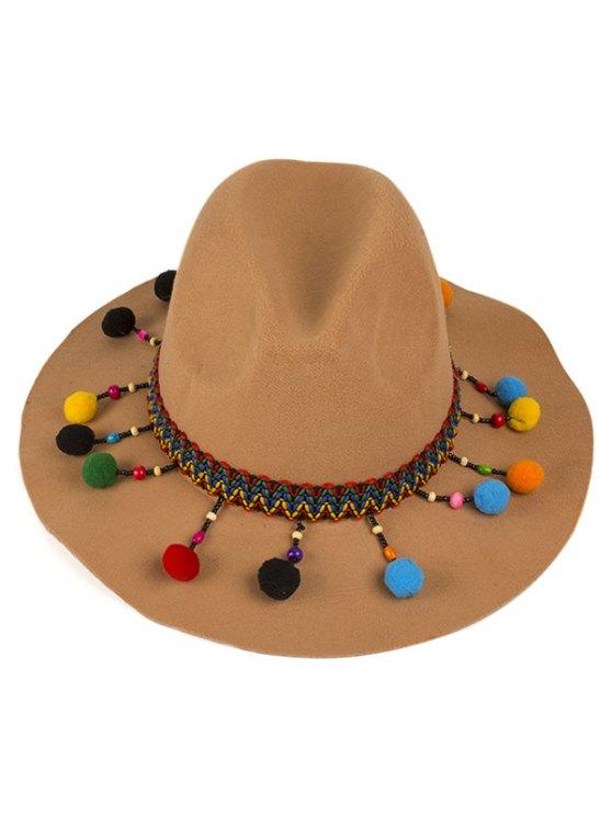 Pompon Pendant Ethnic Felt Jazz Hat - CAMEL  Mobile