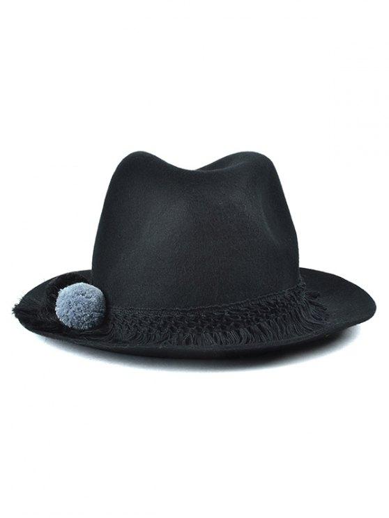 fashion Pompon Tassel Belt Felt Jazz Hat - BLACK