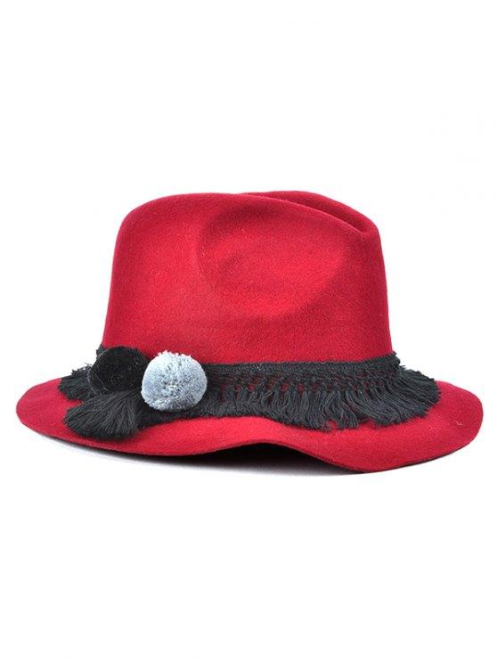 affordable Pompon Tassel Belt Felt Jazz Hat - WINE RED