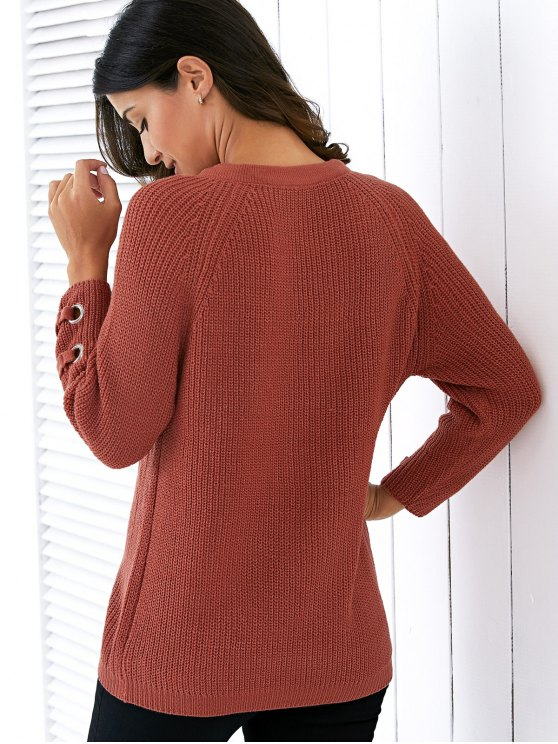Lace Up V Neck Solid Color Sweater - JACINTH ONE SIZE Mobile