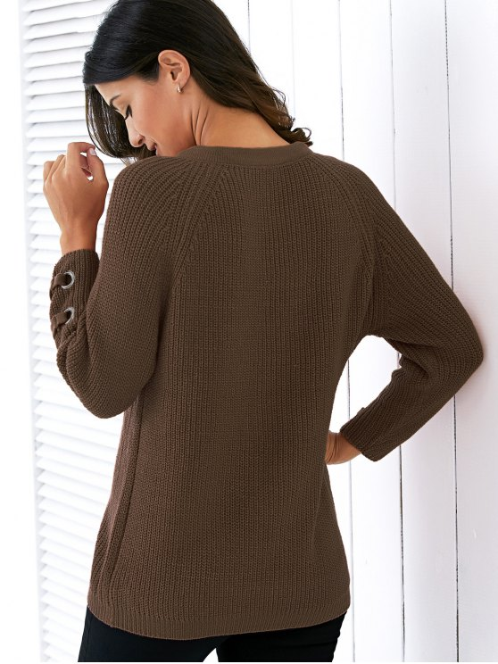 Lace Up V Neck Solid Color Sweater - BLACKISH GREEN ONE SIZE Mobile