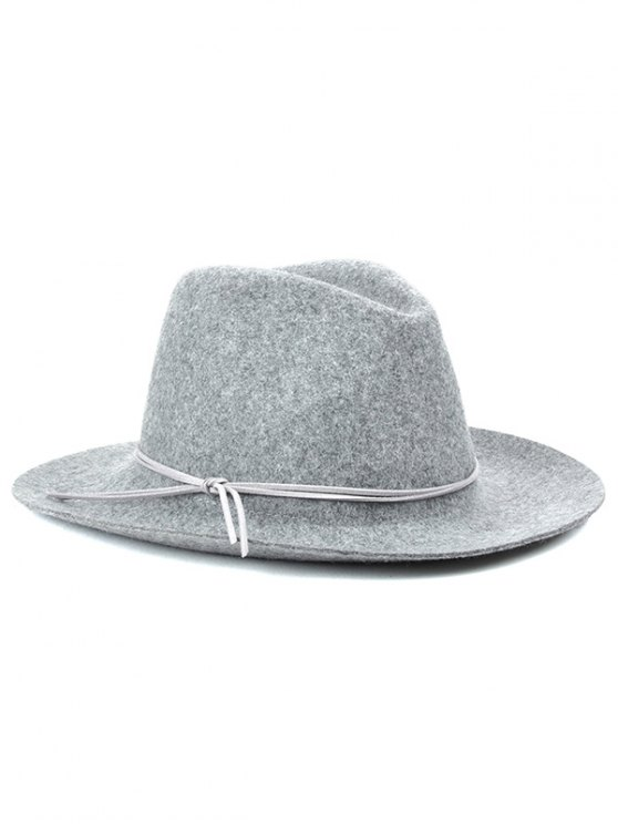 Winter Britain Bowknot Felt Jazz Hat - LIGHT GRAY  Mobile