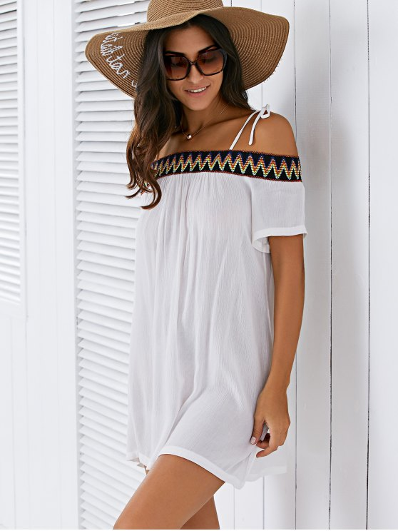Embroidery Cami Shift Dress - WHITE M Mobile