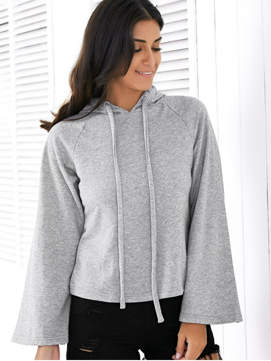 Sweatshirt à capuche couleur unie long Raglan - Gris M