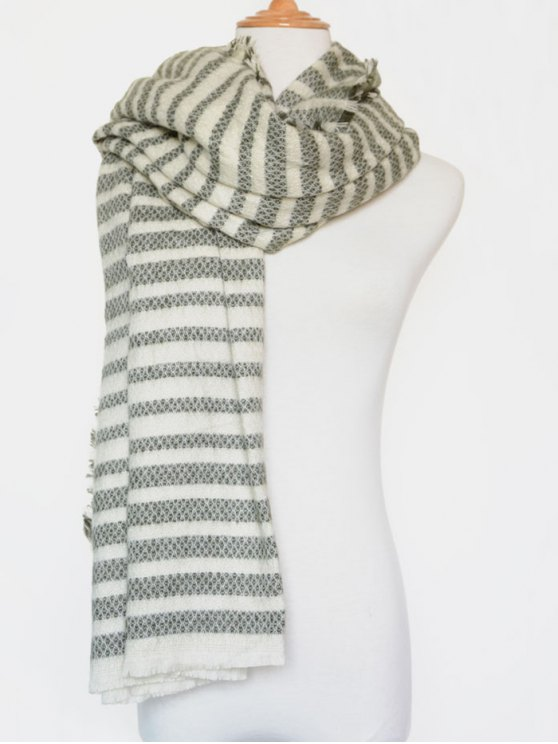 Stripe Fringed Edge Scarf - GREEN  Mobile