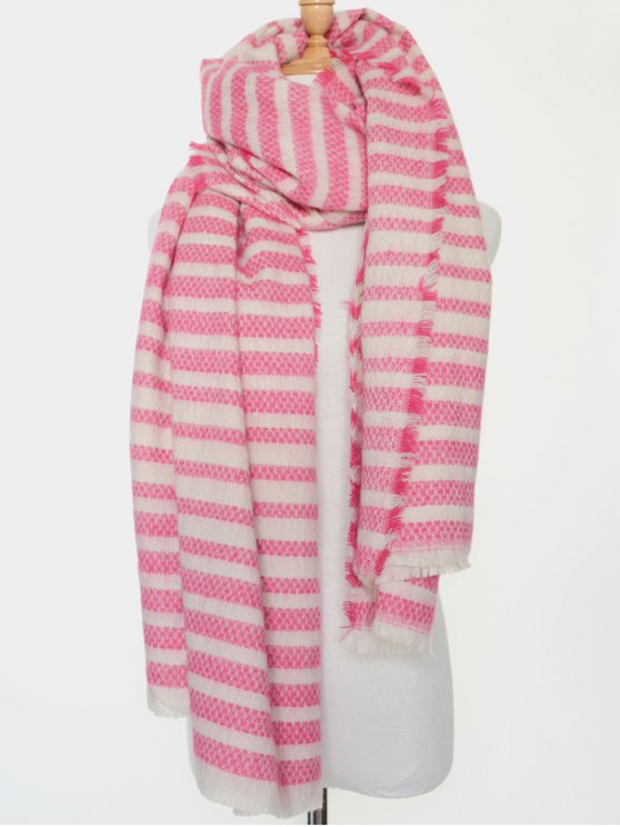 Stripe Fringed Edge Scarf - PINK  Mobile