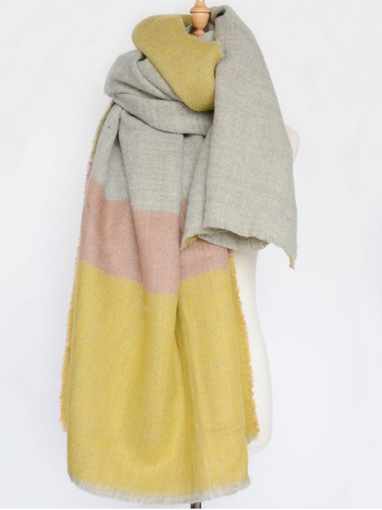Wide Stripe Fringed Edge Scarf - YELLOW  Mobile