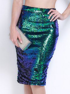 High Waist Sequined Bodycon Sequin Pencil Skirt - Green M