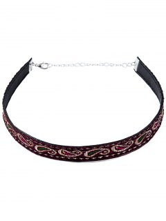 Ethnic Style Embroidery Choker - Purple