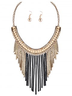 Fringed Necklace And Earrings - Black