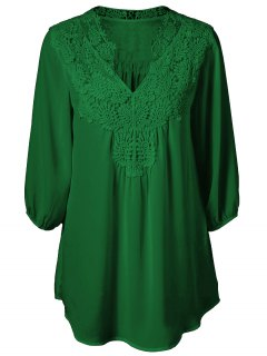Plus Size Crochet Trim Tunic Top - Deep Green L