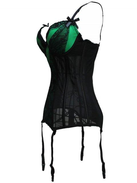 latest Bowknot Spaghetti Strap Lace Corset - GREEN L Mobile