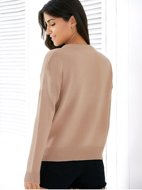shops Lace Up Round Neck Solid Color Sweater - APRICOT ONE SIZE Mobile