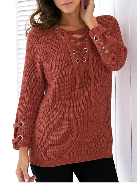 affordable Lace Up V Neck Solid Color Sweater - JACINTH ONE SIZE Mobile