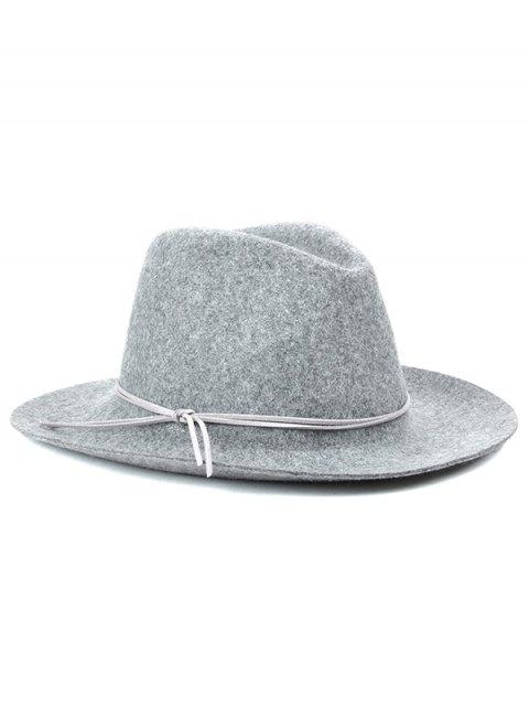 ladies Winter Britain Bowknot Felt Jazz Hat - LIGHT GRAY  Mobile