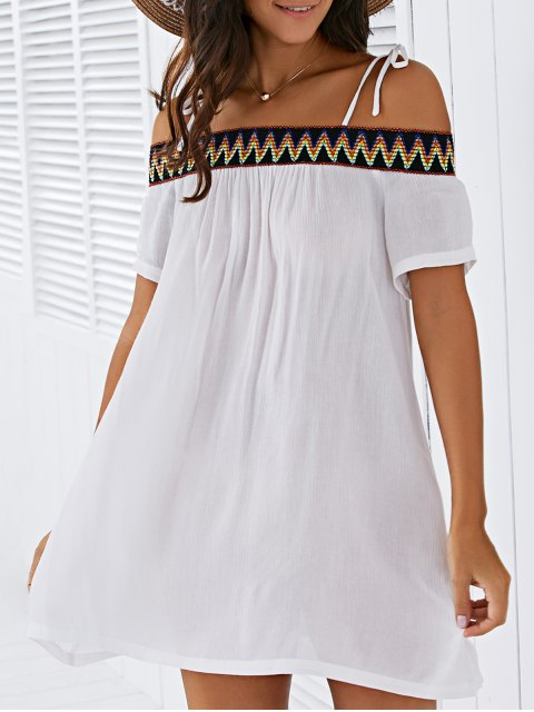 shop Embroidery Cami Shift Dress - WHITE M Mobile