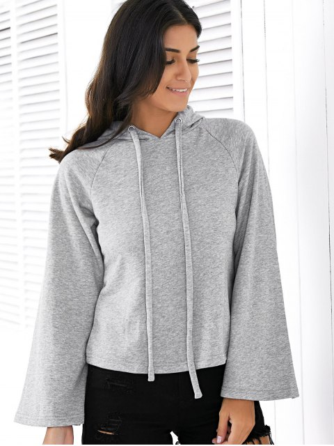 unique Solid Color Long Raglan Sleeve Hoodie - GRAY 2XL Mobile