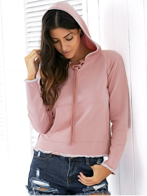 lady Light Pink Raglan Sleeve Lace Up Hoodie - NUDE PINK M Mobile