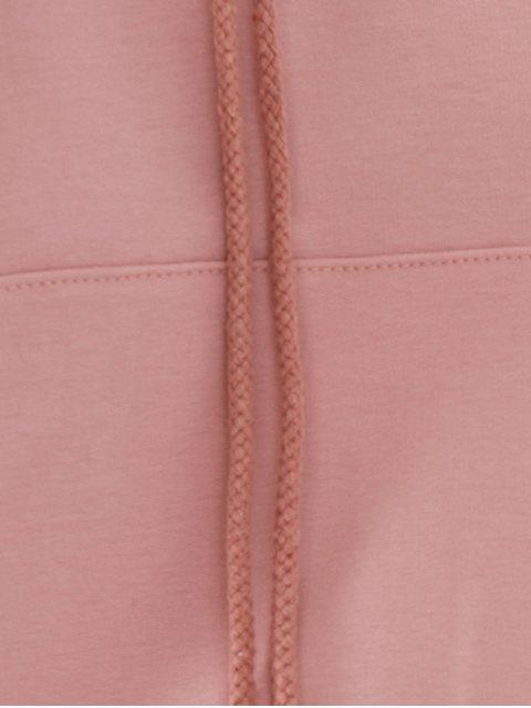 lady Light Pink Raglan Sleeve Lace Up Hoodie - NUDE PINK M Mobile
