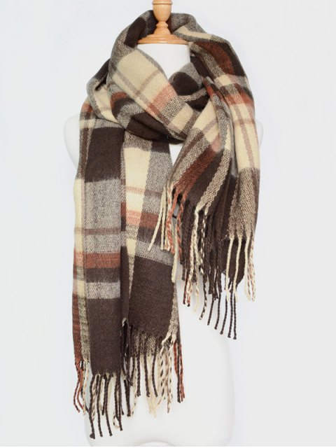 outfits Plaid Tassel Edge Shawl Wrap Scarf -   Mobile