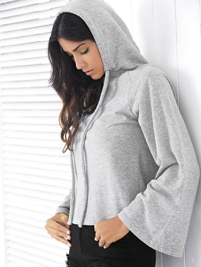 Solid Color Long Raglan Sleeve Hoodie - GRAY M Mobile
