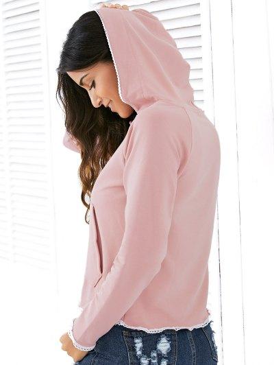 Light Pink Raglan Sleeve Lace Up Hoodie - NUDE PINK M Mobile