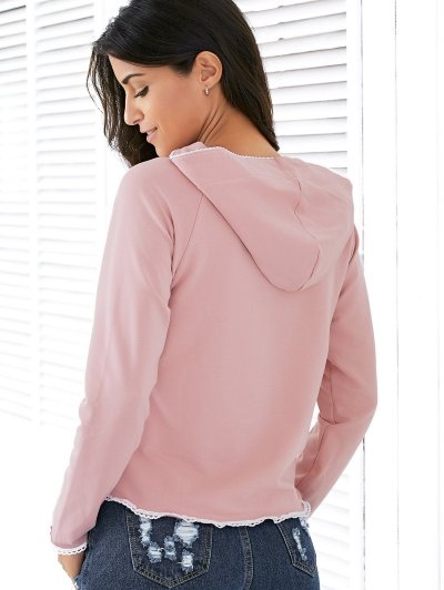 Light Pink Raglan Sleeve Lace Up Hoodie - NUDE PINK S Mobile