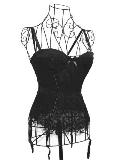 Floral Laciness Spaghetti Strap Corset - BLACK L Mobile