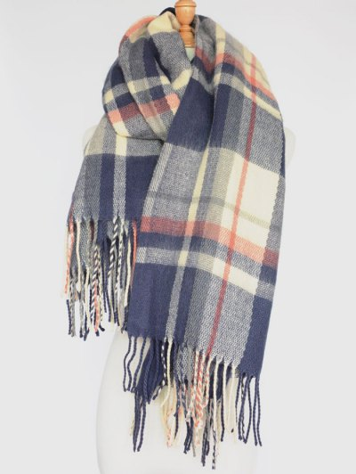Plaid Tassel Edge Shawl Wrap Scarf - CADETBLUE  Mobile