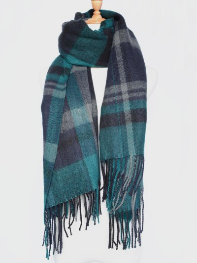 Plaid Tassel Edge Shawl Wrap Scarf - BLACKISH GREEN  Mobile