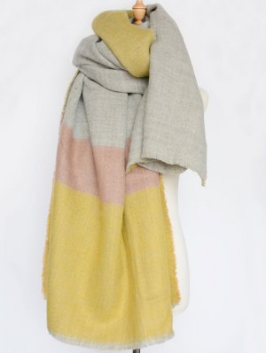 Wide Stripe Fringed Edge Scarf - Yellow