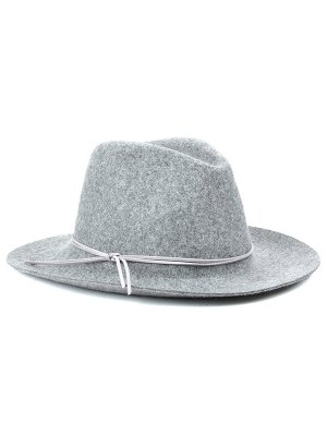 Winter Britain Bowknot Felt Jazz Hat - Light Gray