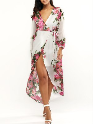 Floral Print Plunging Neck Wrap Maxi Dress - White