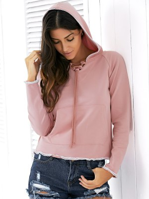 Light Pink Raglan Sleeve Lace Up Hoodie - Nude Pink
