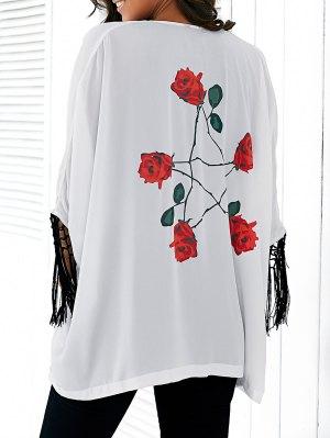 Rose Print Tassels Kimono Blouse - White
