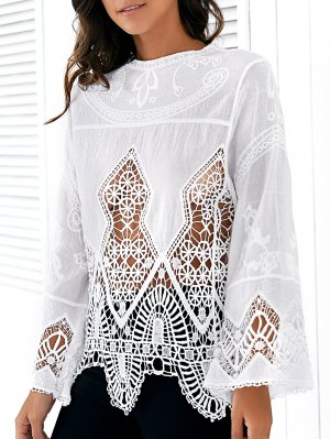 Hollow Out Long Sleeve White Blouse - White