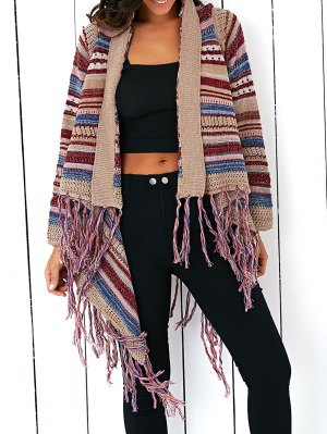 Tassels Spliced Long Sleeve Striped Cardigan