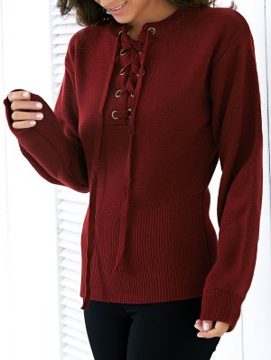 Round Neck Solid Color Lace Up Sweater - Wine Red