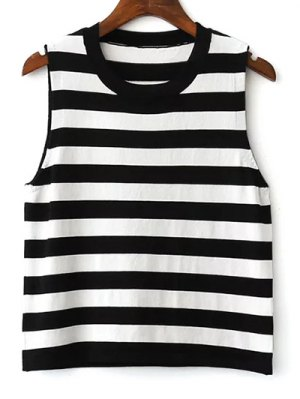 Striped Sleeveless Sweater - White And Black