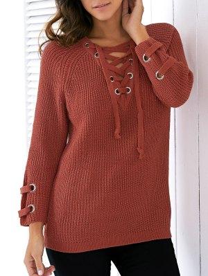 Lace Up V Neck Solid Color Sweater - Jacinth