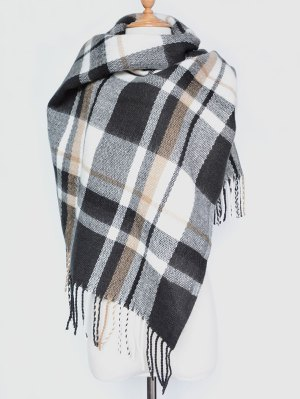 Plaid Tassel Edge Shawl Wrap Scarf - Black