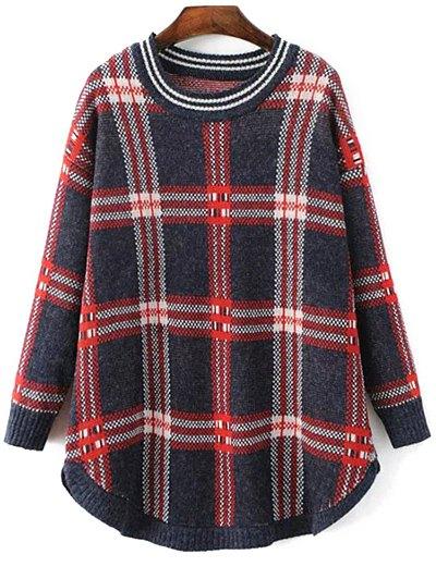 Plaid Rounded Hem Sweater