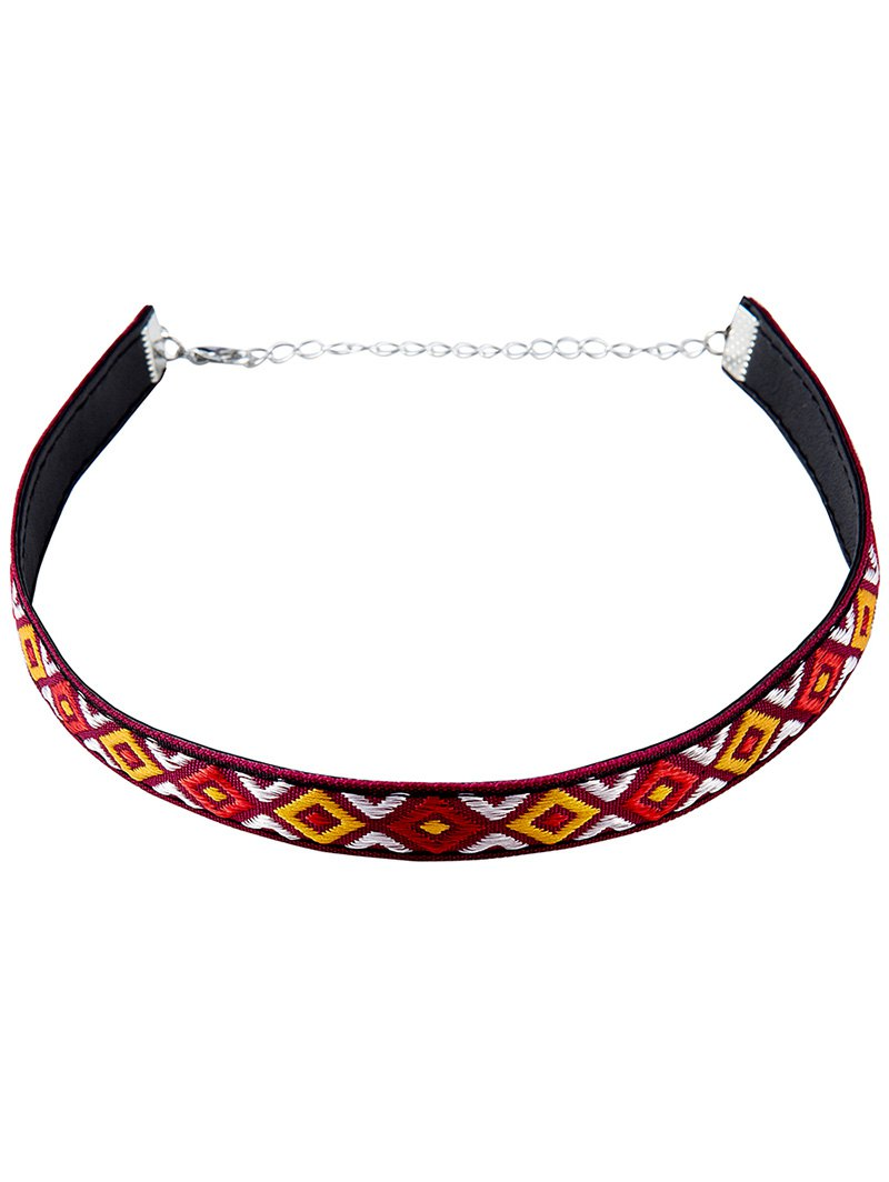 Embroidery Square Choker Necklace