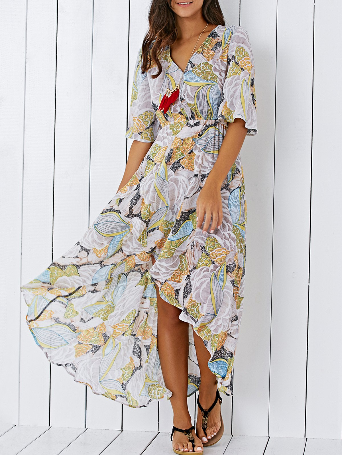 V Neck Printed High Low Chiffon Maxi Dress