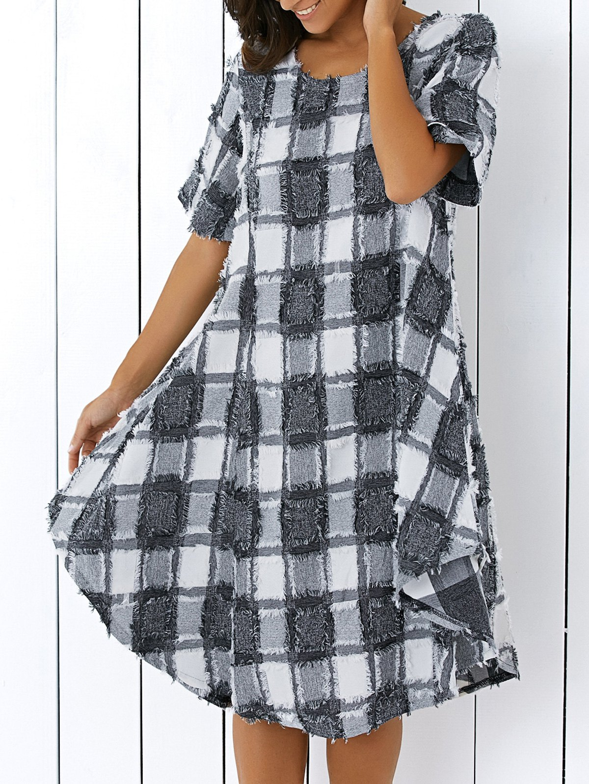 Round Neck Checked Fringed Dress