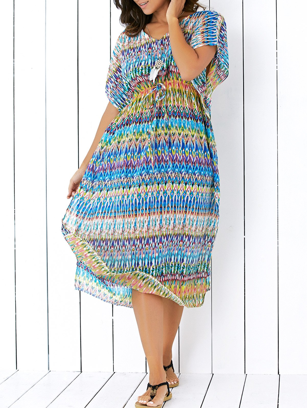 Printed Chiffon Drawstring Design Cover-Up