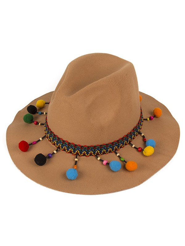 Ethnic Belt Felt Jazz Hat