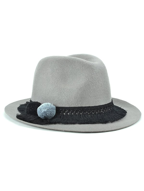 Tassel Belt Felt Jazz Hat