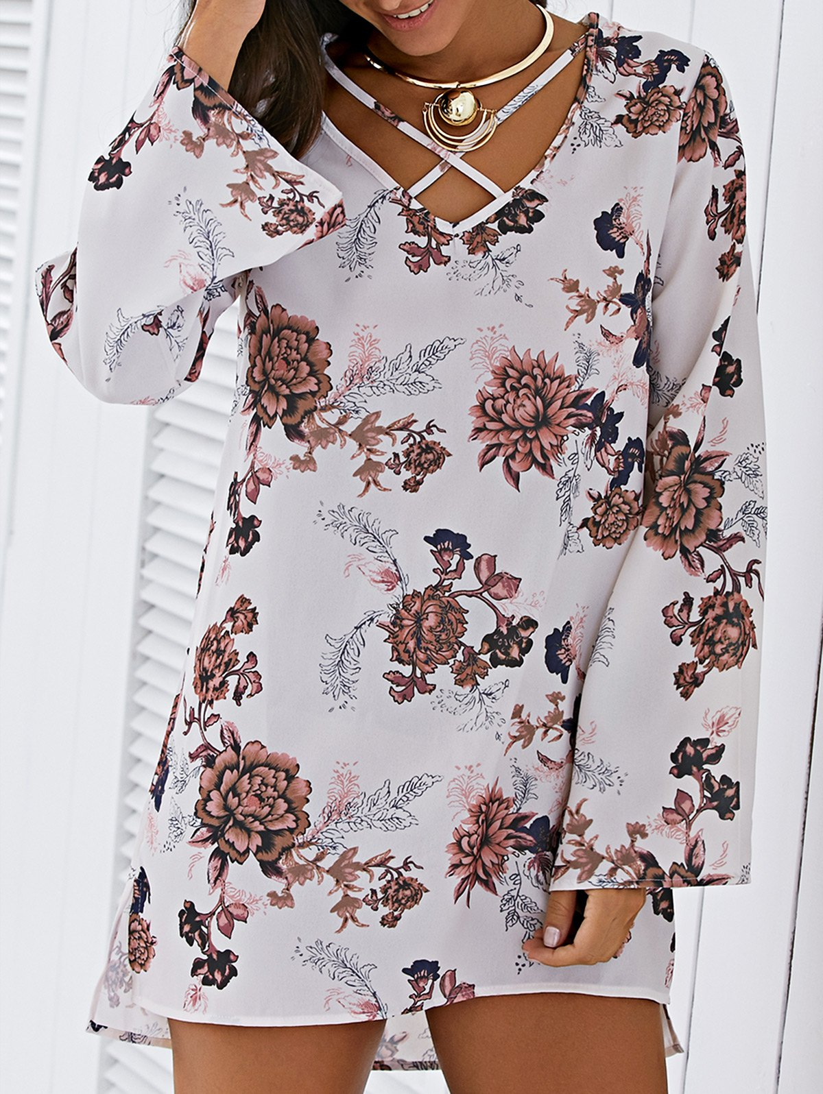 V Neck Long Sleeve Floral Print Strappy Dress