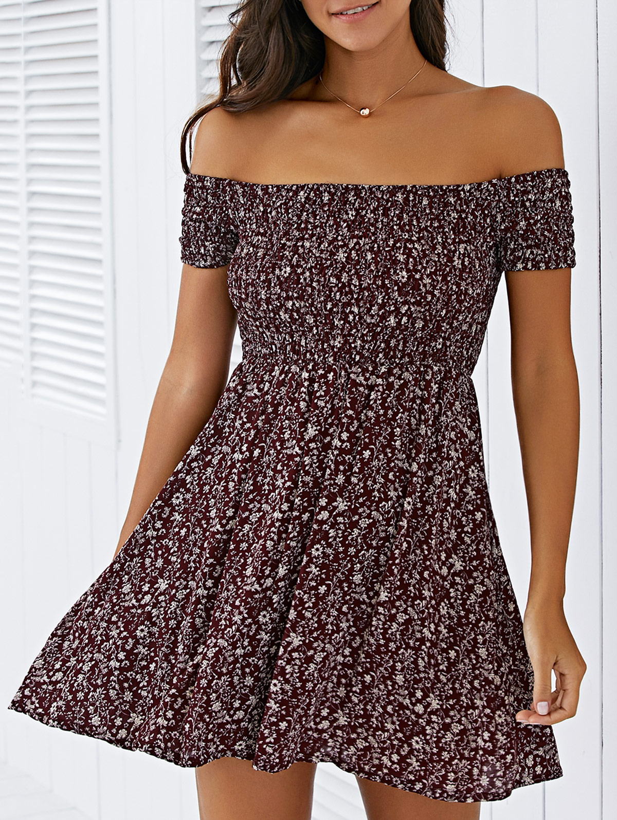 Off The Shoulder Elastic Waist Tiny Floral Print Dress